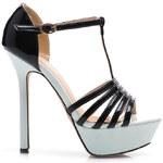 BELLE WOMEN Kouzelné černo-bílé sandálky na podpatku, vel. 39