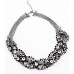 Masivní stříbrný náhrdelník s průhlednými kamínky a propletenými řetízky