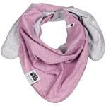 Lamama Dívčí oboustranný šátek - žíhaně fialovo - šedý