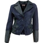 MANDARIN Návrhářská dámská riflová bunda s kůží MANDARIN, bunda modrá