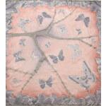 Hedvábný ručně malovaný šátek - MOTÝLI