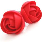 Červené náušnice puzetky TROLI kytičky