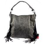 Černá kabelka s krokodýlím vzorem a třásněmi Kallena Bellasi 6107