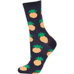 Topshop Navy Textured Pineapple Socks