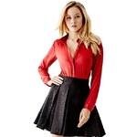 Guess Halenka Nu Satin Shirt červená, velikost XXS