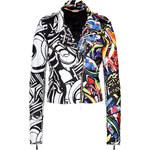 Just Cavalli Leather Graffiti Print Biker Jacket