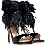 Paul Andrew Patent Leather/Feather Amazon Sandals
