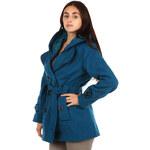 TopMode Krásný kabát s kontrastním lemováním a s kapucí modrá