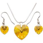 Set s kameny Swarovski HEART SET LIGHT TOPAZ AB 42 cm