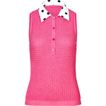 Moschino Cheap and Chic Knit Shell with Polka Dot Collar