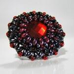 Simply Lovely Prstýnek Arabela - hematit/červená
