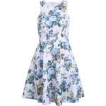 SheInside White Sleeveless Blue Floral Backless Ruffle Dress