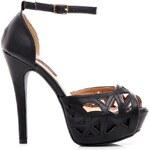 SERGIO TODZI Pěkné černé sandály na podpatku