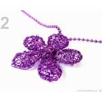 Stoklasa Náhrdelník s drátovanou květinou Ø35mm (1 ks) - 2 fialová purpura