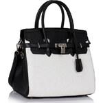 LS fashion LS dámská kabelka ala birkin 140 černo-bílá