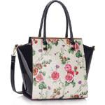 LS fashion LS dámská retro kabelka s květy LS00364 černo-bílá