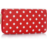 LS fashion retro dámská peněženka s puntíky červená