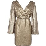 BOOHOO Zlaté mini šaty s širokými rukávy