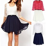 LightInTheBox Women's Slim Hollow Floral Contrast Color Belted Dress