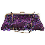 LightInTheBox Fashion Pearl Embroidery Hasp Chain Purple Tote(Lining Color On Random)