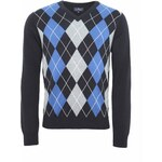 Marks and Spencer XXXL Blue Harbour Pure Cotton V-Neck Argyle Jumper