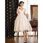 LightInTheBox A-line Princess V-neck Tea-length Taffeta Wedding Dress (783941)