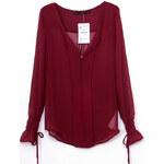 SheInside Dark Red V-neck Bandeau Embellished Elastic Cuffs Chiffon Blouse