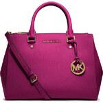 Růžová kožená kabelka Michael Kors sutton dressy saffiano gold