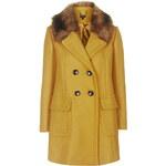 Topshop Faux Fur Collar Wool Blend Coat