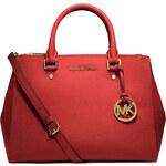 Červená kožená kabelka Michael Kors sutton dressy saffiano