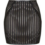 Topshop **Down The Line - Black Stripy Lace Miniskirt With Nude Lining by Goldie