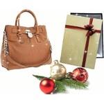Hnědá kožená kabelka Michael Kors Hamilton silver s vánočním balením zdarma