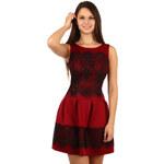 TopMode Úžasné šaty s krajkou tmavě červená