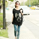 Lesara Oversize-Shirt mit Totenkopf-Cut-Out - S