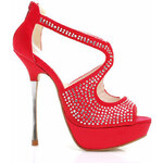 WILADY Luxusní červené saténové sandálky JM-12R