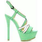 COMER Zeleno- modré sandálky na podpatku BL62BL