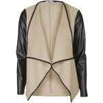 Topshop **Faux Leather Sleeved Waterfall Jacket by Wal G