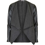 Topshop **Faux Leather Sleeved Watferfall Jacket by Wal G