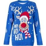 QUIZ LONDON Zimní modrý svetr se Santa sobem