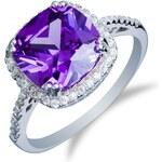 Meucci Stříbrný prsten s čtvercovým ametystem a zirkony