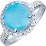 Meucci Stříbrný prsten s akvamarínem a zirkony