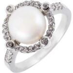 Meucci Stříbrný prsten s výraznou perlou a zirkony okolo