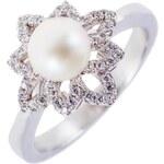 Meucci Perlový stříbrný prsten s kytičkou zirkonů