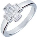 Meucci Stříbrný prsten s křížkem a zirkony