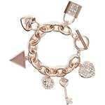 Guess Náramek Rose Gold-Tone Rhinestone Charm Bracelet