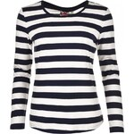 Lee Cooper Long Sleeve Stripe T Shirt Ladies, off white/navy