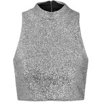 Topshop **Metallic Silver Tinsel High Neck Crop Top by Jaded London