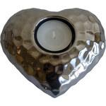 StarDeco Stříbrný svícen - srdíčko