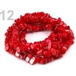 Perleťové zlomky na silonu 90cm (1 šňůra) - 12 červená jahoda Stoklasa