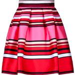 Alberta Ferretti Striped Silk-Blend Flared Skirt
